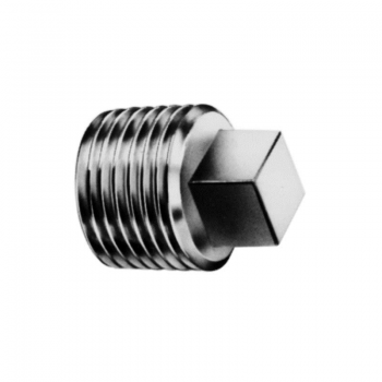 Stainless square plug, conical thread - PN50 - 100
