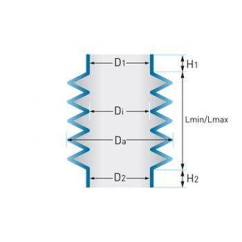 Cylindrical Rubber Bellow D1 Ø3 - D2 Ø9 - H1 8 - H2 8 - Di Ø12 - Da Ø23