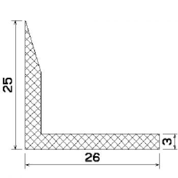 L-profile from rubber MZS - 25064