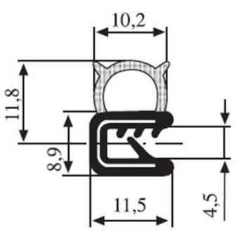 M111001400 Edge Trim Profile with Small Side Seal