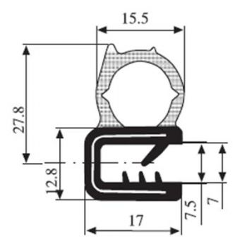 M111006200 Edge Trim Profile with Side Seal