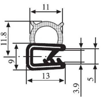M111009900 Edge Trim Profile with Nitrile Side Seal