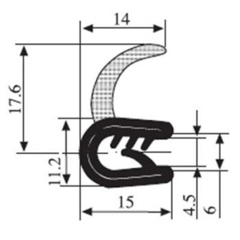 M111011200 Edge Trim Profile with Seal with Side Lip