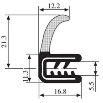 M111011700 Edge Trim Profile with Flanged Side Seal
