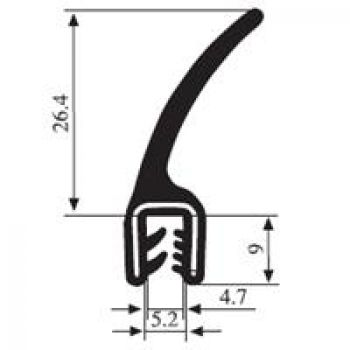 M112004800 Edge Trim Profile with Flange Top Seal