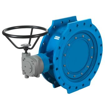 Double-eccentric Butterfly Valve - Cast iron, PN10, flanged - 21182 [Worm gearbox]